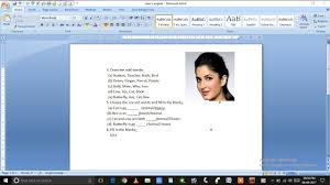 Ms Resume Ms Word Tutorial How To Insert Picture In Resume Youtube