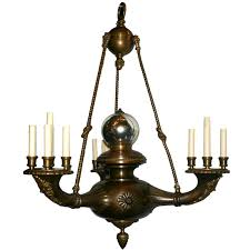 large neoclassic chandelier with mercury glass ball
