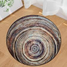 zeegle round carpet for living room wood grain pattern child room rug anti slip computer chair floor mats baby play mat doormats replacement outdoor cushion