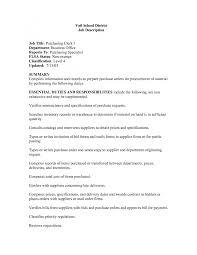 Cover Letter Purchasing Supervisor Job Description Job Description