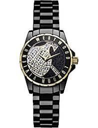 amazon co uk vivienne westwood watches vivienne westwood girl s sloane showpiece quartz analogue display watch gold dial and black ceramic bracelet vv088sgdbk
