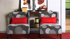 red accent chairs for living room. Grey Fabric Upholstered Armless Accent Chairs With Red Throw Pillows On Patterned Carpet And For Living Room S