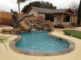 Swimming Pools Design For Small Yards With Stoned Fountain Ideas And Be  Equipped Mini Golf Areas ...