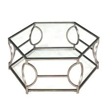 contemporary glam antique gold hexagonal metal coffee table with glass top korinna and round