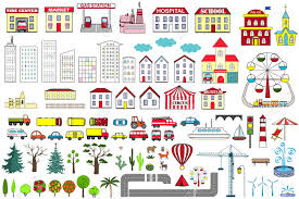 Stock Vectors Set City Map Cartoon 69626220 Illustration Elements And Vector Free Of Cliparts Image Royalty