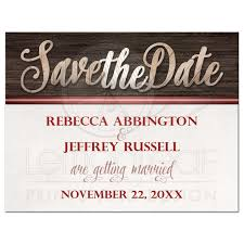 Red Save The Date Cards Save The Date Cards Rustic Wood Lettering With Red