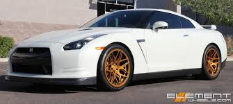 20 inch Staggered MRR FS01 Bright Gold Wheels on 2009 Nissan GTR w ...