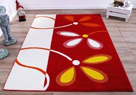interior approved color block area rug cream red flowers flower abstract design flowe