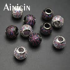 5pcs new arrival zircon cubic stone setting uk flag shape 5mm big hole diy jewelry making