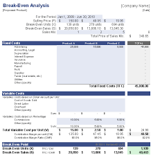 Break Even Template Break Even Analysis For Multiple Products Templates