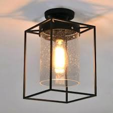 semi flush ceiling lighting fixtures seedy glass shade fixture metal wire cage light modern mount lightning wire cage light