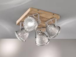 4flammiger Deckenstrahler Holz Metall Zink Antik Deckenlampe Industrial Style