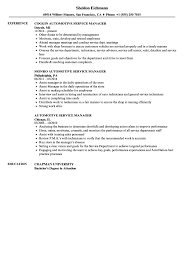Manager Resume Sample Automotive Service Manager Resume Samples Velvet Jobs