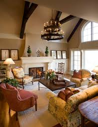 living room with circular wooden chandelier