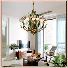 glass flowers green leaves chandeliers american garden artistic suspension lighting living room art deco hanging lamp hanging lighting modern hanging lights