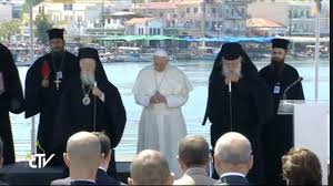 Αποτέλεσμα εικόνας για Δημόσια συμπροσευχή τοῦ Πατριάρχη κ. Βαρθολομαίου καί τοῦ Ἀρχιεπισκόπου κ. Ἱερωνύμου  μέ τόν αἱρετικό Πάπα, στήν Λέσβο