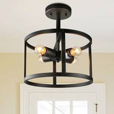 Semi Flush Foyer Lighting Lnc Semi Flush Mounts Drum Black Finish Ceiling Lights 4