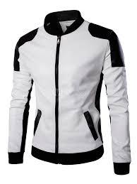 pu leather biker jacket black white color block er jacket for men no