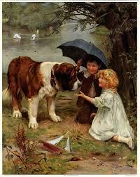 antique arthur john elsley 1910 victorian art print saint bernard children nr
