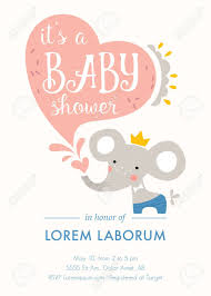 Baby Elephant Template Baby Shower Invitation Template Card Design With Baby Elephant