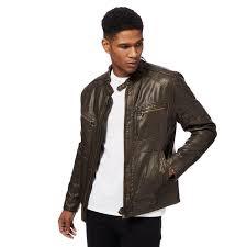 red herring big and tall brown biker jacket backing 100 viscose lining wadding 100 polyester nta 64755