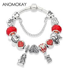 <b>Anomokay</b> Hot <b>Red</b> Crystal Enamel Diy Bead Pan Bracelet Antique ...