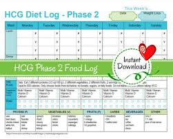 Hcg Weekly Phase 2 Food Tracker Weight Loss Journal Diet Etsy