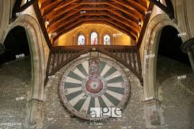stock photo view at the ceiling of the great hall of winchester castle at king arthur s round table fixed at the wall united kingdom england