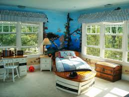 Great Bedroom White And Brown Wooden Table Ocean And Island Themed Bedroom 8 Bed  Shape Ship Red