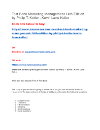 Essay On Marketing Management Test Bank Marketing Management 14th Edition By Philip T