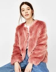 bershka short faux fur coat 1