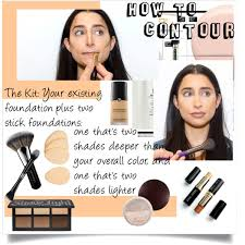 step 1 map your face with the darker of the two stick foundations trace