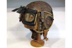 helmet goggles c1940s wwii leather flying helmet goggles on stand