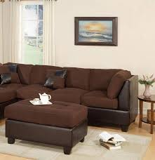 poundex furniture f7615 brown fabric chicolate faux leather sectional w ottoman f7615 poundex