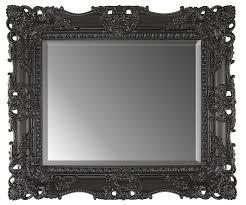 black ornate carved mirror