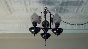 Vintage Hanging Swag Light Vintage 3 Light Brass Hanging Swag Lamp W 14 Chained Cord Hurricane Shades Wow