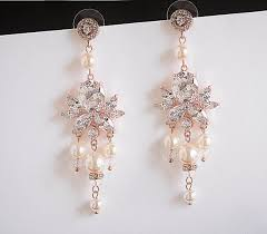 statement wedding earrings art deco bridal chandelier dangle earings swarovski pearl rose gold silver cz crystal bridal jewelry