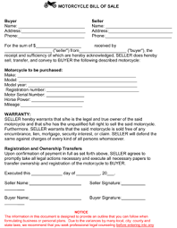 Motorcycle Bill Of Sale Template 8ws Templates Forms