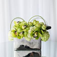 florist in los angeles flower delivery cool arrangement in chrome conner with green hydrangea
