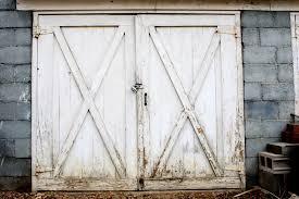 old garage door white paint exterior barn door