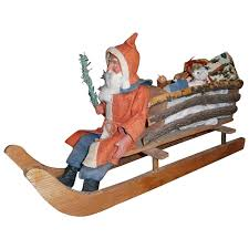 german large woodcutter santa in sleigh or sled with wooden holiday happenings ruby lane