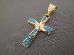 fine jewelry gold turquoise inlay cross pendant by native american jeweler tim charlie 850