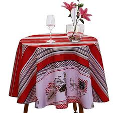 jiater stripes design table cloth spillproof polyester fabric round tablecloths 60 round red stripes