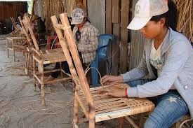 weaving a rattan chair