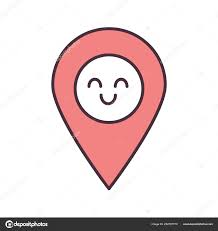 Smiling Map Pin Character Color Icon Easy Gps Navigation