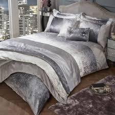 glitter shimmer crushed velvet duvet quilt cover set
