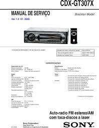cdx gt207x manual de serviÇo auto radio fm estereo am com toca wow e flutter abaixo do limite mensurável especificaÇÕes amplificador saídas saídas para alto falantes