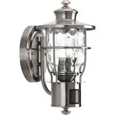 stainless steel lighting fixtures. Progress Lighting Beacon Collection 1-Light Stainless Steel Motion Outdoor Wall Lantern-P6025-135DI - The Home Depot Fixtures L