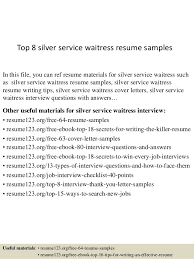 waitressing cv top 8 silver service waitress resume samples