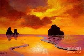 beach sunset painting lovely sunset beach painting by shasta eone